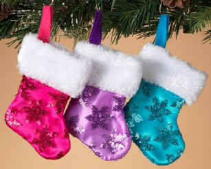 Pink, Purple or Blue Mini Christmas Stockings